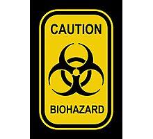 Caution Biohazard Sign - Yellow & Black - Rectangular Photographic Print