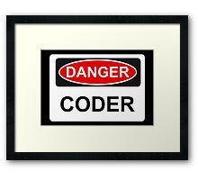 Danger Coder - Warning Sign Framed Print