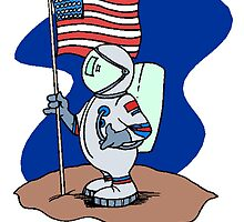 Astronaut With American Flag by kwg2200