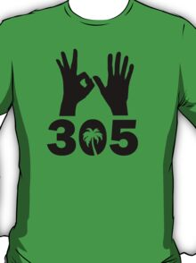 305 Area Code With Hand Signs and Palm Tree T-Shirt