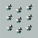 Butterflies, green, white, black Tee, Pillows & Totes, duvets or Tablets by Leonie Mac Lean