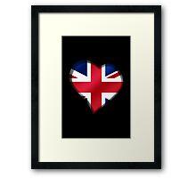 British Union Jack Flag - United Kingdom UK - Heart Framed Print