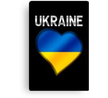 Ukraine - Ukrainian Flag Heart & Text - Metallic Canvas Print