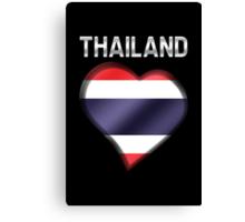 Thailand - Thai Flag Heart & Text - Metallic Canvas Print