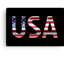 USA - American Flag - Metallic Text Canvas Print