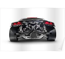 Audi Quattro R8 Turbo sports car rear view with exposed engine art photo print Poster