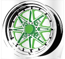 Green and Black Rim Poster