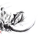 Aikido ink painting, japanese warriors  by Mariusz Szmerdt