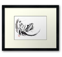 Aikido ink painting, japanese warriors  Framed Print