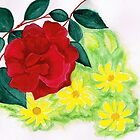 Roses and daisies by Elizabeth Kendall