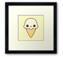 Kawaii Happy vanilla Ice cream cone Framed Print