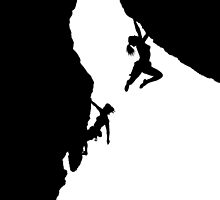 women rock climbing by mindgoop