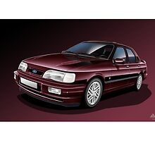 Ford Sierra Cosworth Sapphire 4x4 Poster Illustration by RJWautographics