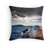 Dogs with game face on .28 Throw Pillow