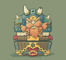 Cartoon styled dwarf sitting on the chest  by AndrewBzh