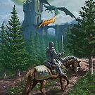 Knight on horseback approaching dragon guarded castle by martyee