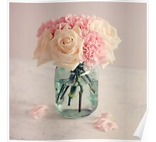 White Roses and Pink Carnation Bouquet Poster