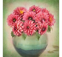 Beautiful Pink Dahlia's in a Green Vase Photographic Print