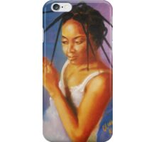Long Tresses. Woman dresses her hair. iPhone Case/Skin