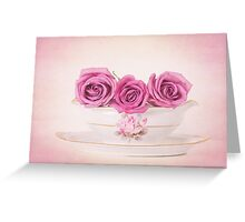 Mauve Roses in a Gravy Boat Greeting Card