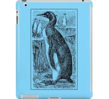 Vintage Penguin Art on Blue iPad Case/Skin