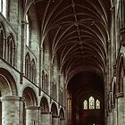 Vertical shot of Nave Cathedral Hereford England 198405150045  by Fred Mitchell