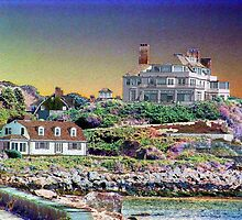 Digital Colouring - beach houses-  summers over  by Maureen Zaharie