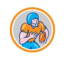 American Football Receiver Running Ball Circle Shield by patrimonio