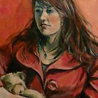 'Georgie: a study in red' 2011 Oil on canvas by Elizabeth Moore Golding