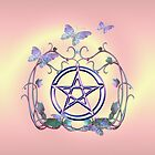 Pentacle Butterflies .. tote, pillow, case by LoneAngel