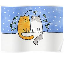 Christmas Cats and a Mistletoe Hat Poster