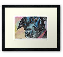 """Little Black Dog (""""Korra"""" the lab-mix) Framed Print"""