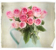 Beautiful bouquet of pink roses Poster