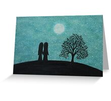 Soul Mates / Lovers Silhouettes on Hill Greeting Card