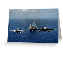 Two F/A-18E Super Hornets from the Tophatters of Strike Fighter Squadron (VFA) 14 Greeting Card
