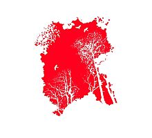 Forest Silhouette in Light Bright Red Photographic Print