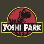 Super Mario World Yoshi Park Jurassic Park Distressed Tee by DeepFriedArt