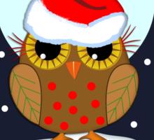 Cute Santa hat Owl Merry Christmas text card Sticker