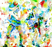 BRIAN JOHNSON and ANGUS YOUNG - watercolor portrait by lautir