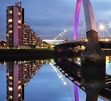 Glasgow Clyde Arc Bridge Reflections by Maria Gaellman