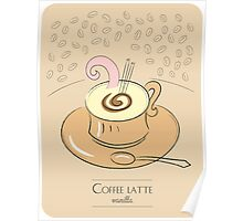 Coffee latte vanilla vintage design Poster