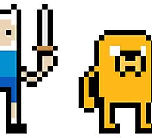 8bit Pixel Finn and Jake Adventure Time - Sword and Shield by tshirtdesign
