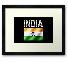 India - Indian Flag & Text - Metallic Framed Print