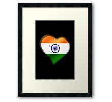 Indian Flag - India - Heart Framed Print
