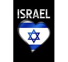 Israel - Israeli Flag Heart & Text - Metallic Photographic Print