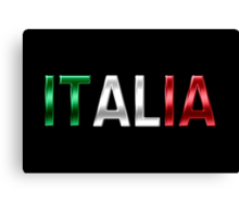 Italia - Italian Flag - Metallic Text Canvas Print