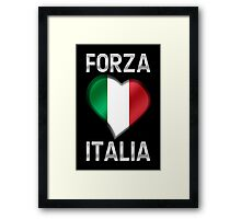 Forza Italia - Italian Flag Heart & Text - Metallic Framed Print