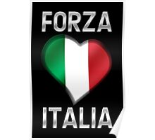 Forza Italia - Italian Flag Heart & Text - Metallic Poster