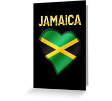 Jamaica - Jamaican Flag Heart & Text - Metallic Greeting Card