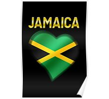 Jamaica - Jamaican Flag Heart & Text - Metallic Poster